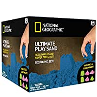 National Geographic Play Sand - 6 LBS of Sand with Castle Molds (Blue)