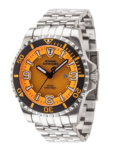 Detomaso Men's DT1053-A San Marino Solar Divers Trend Orange/Silber Analog Display Japanese Quartz Silver Watch