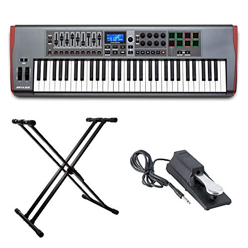 Novation AMS-IMPULSE-61 Impulse 61 with On Stage Sustain Pedal and Knox Adjustable Keyboard Stand