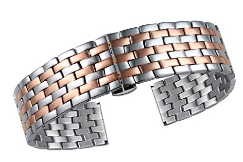 Silver and Rose Gold Watch Band Metal Strap for Men's Watches Solid Stainless Steel ()