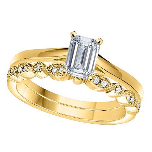 Gems and Jewels 1.00 Ct Emerald Shape & Round Cut White CZ Diamond 14k Yellow Gold Plated Art Deco Vintage Design Wedding Bridal Set Engagement Ring