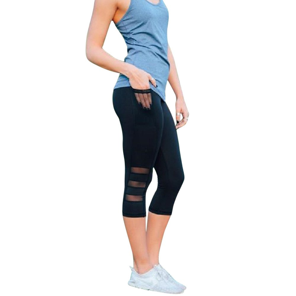 Clearance Sale! Women Pants WEUIE Women Skinny Leggings Patchwork Mesh Yoga Leggings Fitness Sports Pants (M, Black)