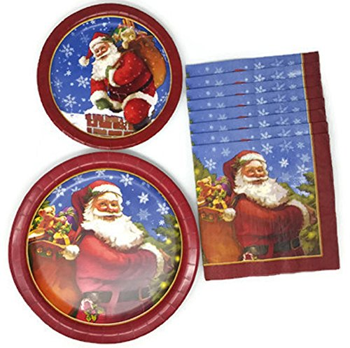 Holiday Paper Plates and Napkins Santa Claus Bundle of 3, Service for 8