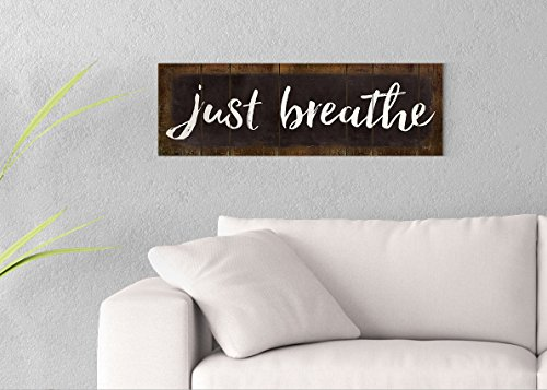 Just Breathe Printed on 30x10 Canvas Wall Art by Pennylane