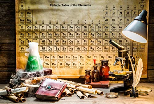 Mad Laboratory Halloween (Leyiyi 5x3ft Vintage Chemistry Lab Backdrop Rustic Wooden Cottage Retro Maps Chemist Microscope Retro Periodic Elements Table Quil Photo Background Cowboy Kids Portrait Studio Prop Vinyl)