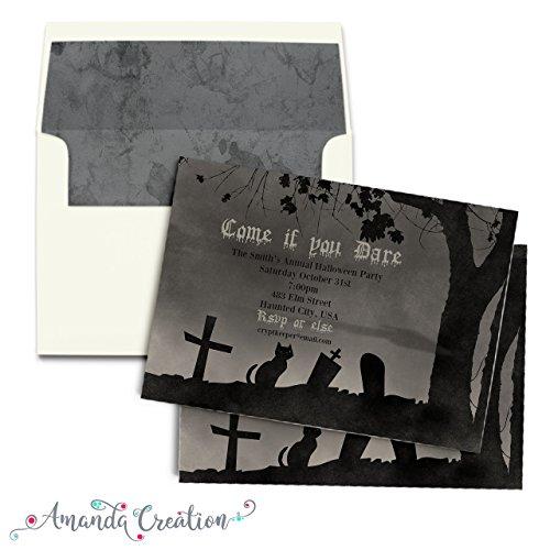 Spooky Graveyard Halloween Party Invitation -
