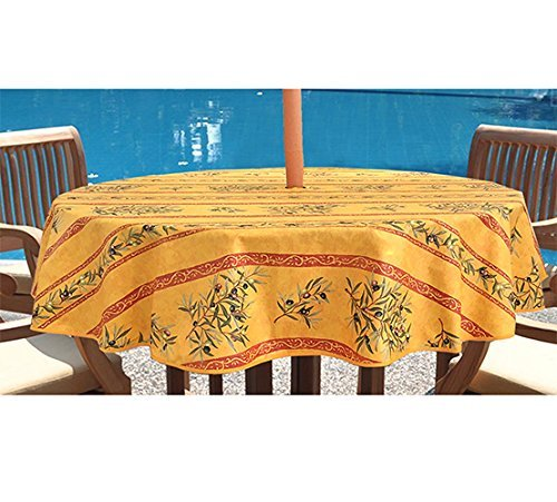 High Quality Umbrella Hole Round Tablecloth 60 Inches  Provence Coated Olives Branches  In Gold   Water And