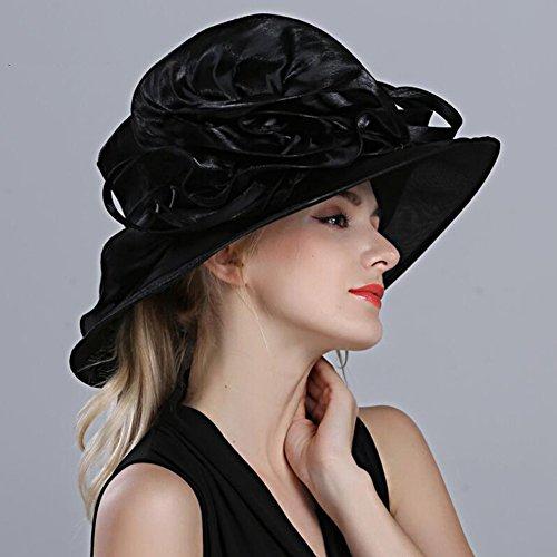 Sombrero Dama Dt Black Bowler Flores Visor color Verano Banquete Moda Aleros Blue Femeninas Inglaterra Grandes Tapa Blanco RqwrqntP