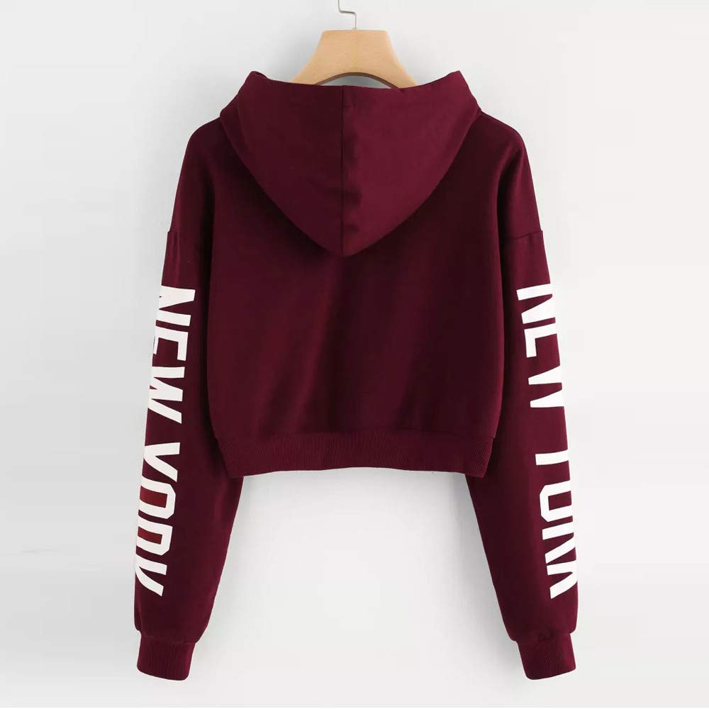 Amazon.com: LISTHA Letters Hoodie Women Crop Tops Long Sleeve Hooded Sweatshirt Pullover Top: Clothing