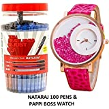 Pappi Boss Classic Designer Pink Movable BeadsWrist Watch For Girls, Women With NATARAJ GCM Blue Ink Use & Throw Ball Pens ( Pack of 100 )-Combo