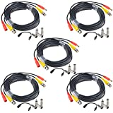 LoveCam BNC video power cable security camera wire cord for CCTV DVR surveillance system(included 2x BNC to RCA connectors, 2x Female Connectors and a 2.1mm power cable) (65ft, Black 5-Pack)
