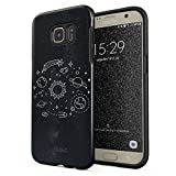 Glitbit Samsung Galaxy S7 Edge Case Cute Solar System Galaxy Stars Planet Sun Earth Moon Universe Cosmic Cosmos Space Tumblr Heavy Duty Shockproof Dual Layer Hard Shell + Silicone Protective Cover