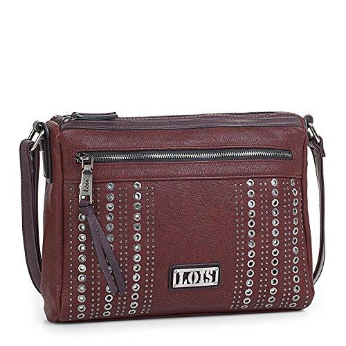 LOIS - 94449 Bolso de mujer bandolera ajustable. Doble compartimento central con cremallera. Llavero y remaches. Piel sintética polipiel, Color Oliva Granate