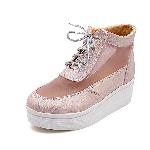 Allhqfashion Women's Round Closed Toe Ankle High Low Heels Solid Blend Materials Boots Pink tCuhn9yfi