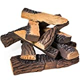 Barton Fireplace Decoration Petite Ceramic Wood, Gas Fireplace Log Set, 10 Piece