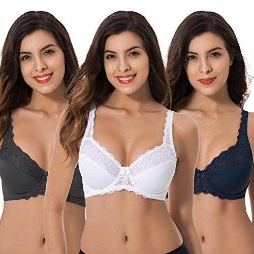 006982c2e94 Curve Muse Plus Size Minimizer Underwire Unlined Bra with Embroidery Lace -3Pack-NAVY