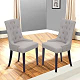 Dining Chair Set Of 2 Fabric Accent Room Side Chairs With Solid Wood Legs For Dining Room Review