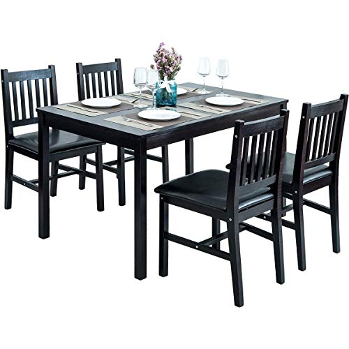 Harper&Bright Designs 5 Piece Dining Table Set Wood 4 Person Home Kitchen Table and Chairs (Espresso)