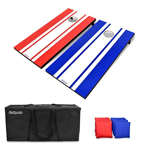 GoSports Classic Cornhole Set – Includes 8 Bean Bags, Travel Case and Game Rules (Choose between Classic, American Flag, and Football Designs)