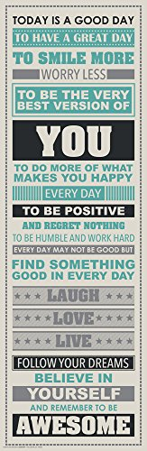 Be Awesome Inspirational Motivational Happiness Quotes Decorative Poster Print, 12x36 Unframed