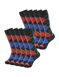 SUTTOS Men's 10 Pairs Cotton Funky Argyle Diamond Striped Long Crew Dress Socks