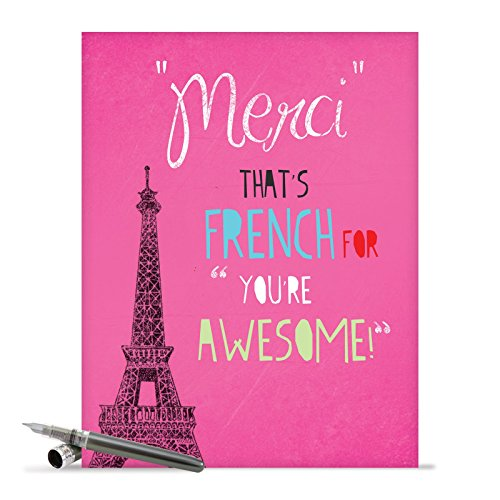 J2567TYG Jumbo Funny Thank You Card: Merci You're Awesome With Envelope (Extra Large Version: 8.5'' x 11'')