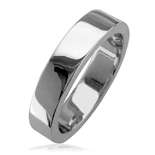 Mens Classic Plain Flat Square Edge Wedding Band 5mm Wide In 14K White Gold