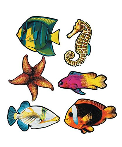 Beistle 55695 Packaged Fish Cutouts, 14.25