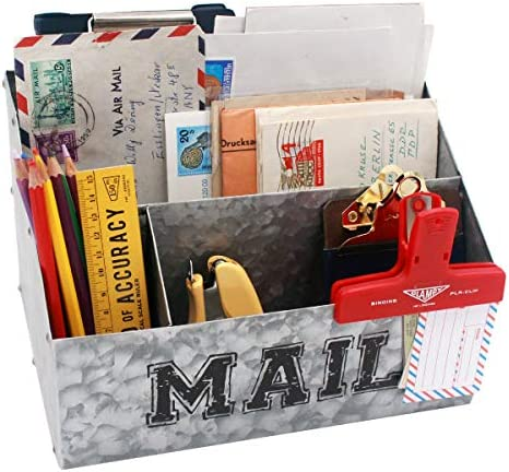 Funly mee Rustic Metal Desk File Organizer Mail Sorter with 4 Compartments Galvanized Storage for Letter,Notebook,Pencil or other Office Supplies