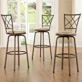 Cheap Bar Stools Set of 3 Home Creek Crossed Detail Adjustable Swivel Barstools - Set of 3