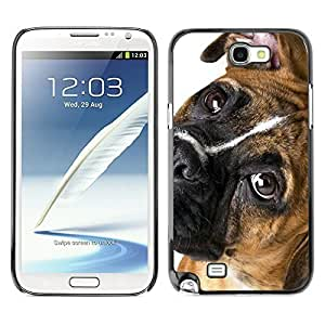 good case MOVEWAY Smartphone case cover Back Lovely Dog Picture Image Black Edge Cover For SAMSUNG GALAXY NOTE II 2 N7100 - 5bpikxotptO boxer breed canine dog pet eyes muzzle