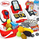 Pretend Play Smart Cash Register Toy, Kids Cashier with Checkout Scanner,Fruit Card Reader, Credit Card Machine, Play Money and Grocery Play Food Set, Educational Toys for Boys & Girls Gifts Toddlers