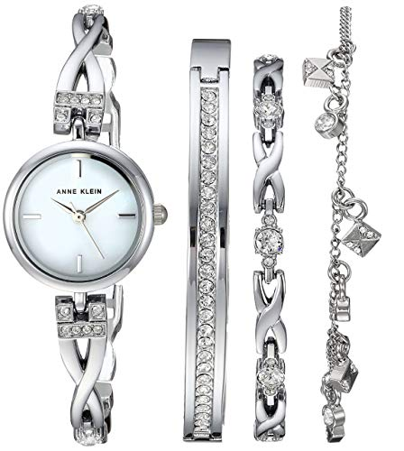 (Anne Klein Women's  Swarovski Crystal Accented Silver-Tone Watch and Bracelet Set)