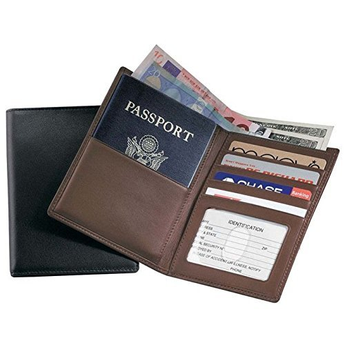 Royce Leather RFID Blocking Bifold Passport Currency Travel Wallet, Black