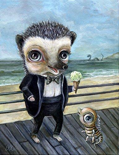 Hedgehog Art Print, Lowbrow Surreal Beach Art with Sea Monster (Monster Art Sea)