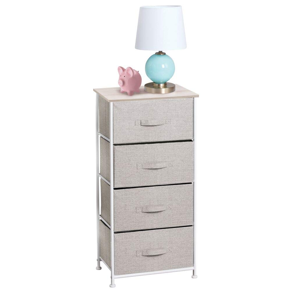 mDesign Vertical Dresser Storage Tower - Sturdy Steel Frame, Wood Top, Easy Pull Fabric Bins - Organizer Unit for Child/Kids Bedroom or Nursery - Textured Print - 4 Drawers - Linen/Natural by mDesign