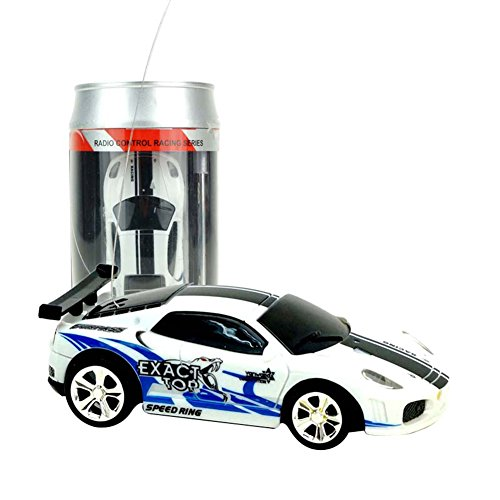 RaiFu カーモデル 車モデル コークスミニRCカー 4チャンネルラジオリモコンレーシングカー1:58スケールキッズおもちゃギフト 青と白