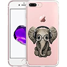 Cute Baby Elephant Listening To Music Clear Phone Case for iPhone 7 Plus 5.5 Customized Design by MERVELLE TPU Clear case [Ultra Slim, Anti-Slippery]