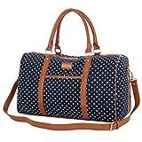 BAOSHA HB-25 Cute Lady Women Canvas Travel Bag Weekender Overnight Bag Carry-on Duffel Tote Bag (Blue Dot)