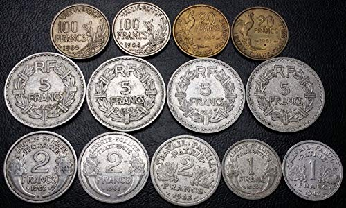 Lot of 13x France 1, 2, 5, 20, and 100 Francs Coins, used for sale  Delivered anywhere in Canada