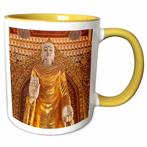 3D Rose 132840_8 Malaysia, Dhammikarama Burmese Temple, Buddha Two Tone Ceramic mug Yellow/White ()