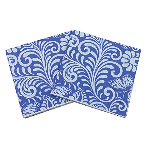 Buterfly Printing Blue Cocktail Napkins 100 Sheets Decorative Disposable Paper Beverage Napkins for Wedding Party -