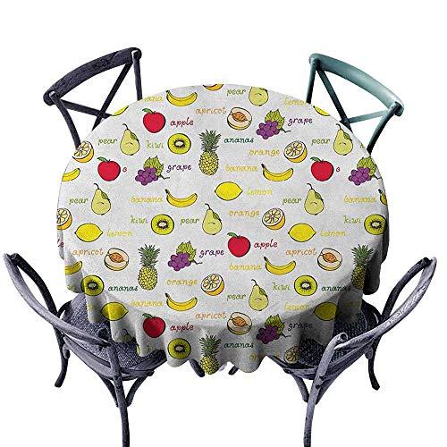 G Idle Sky Fruits Decorative Textured Fabric Tablecloth Kiwi Banana Plums Lemon Orange Pear Grape Apricot Kitchen Food Print Great for Buffet Table D55 Yellow Cream Purple Ruby ()