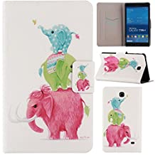 T230 Case,Gift_Source (Slim Fit) (Stand Feature) Folio Flip PU Leather Case Cover Skin Back Case for Samsung Galaxy Tab 4 7.0 SM-T230NU 7-Inch Tablet (Three elephants)