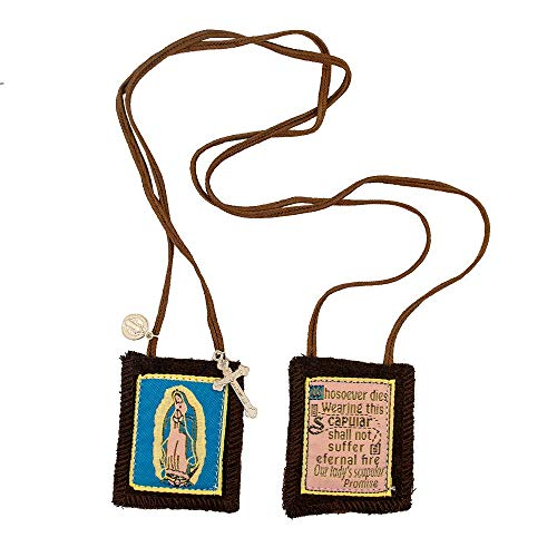 Holy Scapular - Venerare Catholic Holy Figure Saint Scapular | 100% Wool | Comes with Enrollment Papers (Our Lady of Guadalupe Scapular (Blue Background))