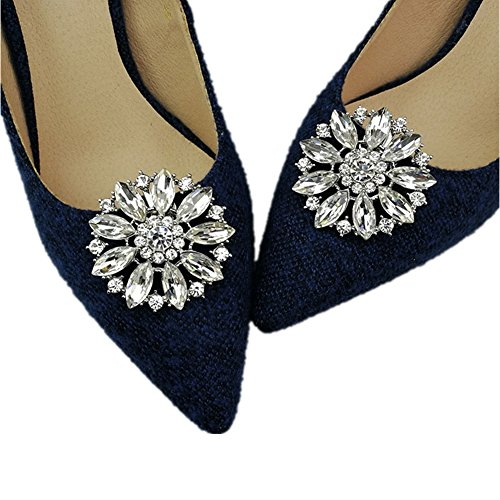 Casualfashion 2Pcs European Fashion Decorative Crystal Rhinestone Flower Shoes Clutch Dress Hat Shoe ()
