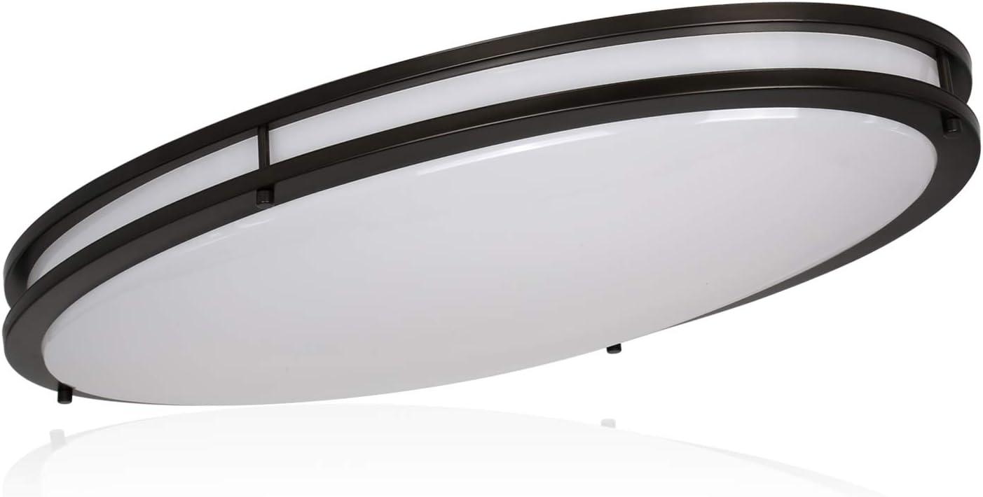Hykolity 32 Inch Oval LED Ceiling Light, 35W [300W Equivalent] 3100Lm 4000K Oil-Rubbed Bronze Finish Dimmable Saturn Flushmount Ceiling Light for Bedroom, Restroom, Washroom, Living Room, laundry room
