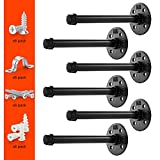 Pipe Bracket (6 pcs Black Steel) - Industrial DIY Pipe Shelf Bracket for Wood Floating Shelf Vintage Look - Rustic Pipe Decor Wall Mount with All Accessories Needed (Shelf Not Included) (6)
