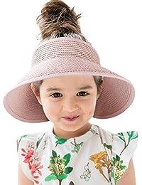 Sun Visor Kids Straw Hat Wide Brim Roll Up Summer Toddler Beach Hats Boy Girl Pink