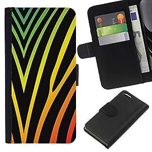 KingStore / Leather Etui en cuir / Apple Iphone 5C / Colores vibrantes Negro Neón